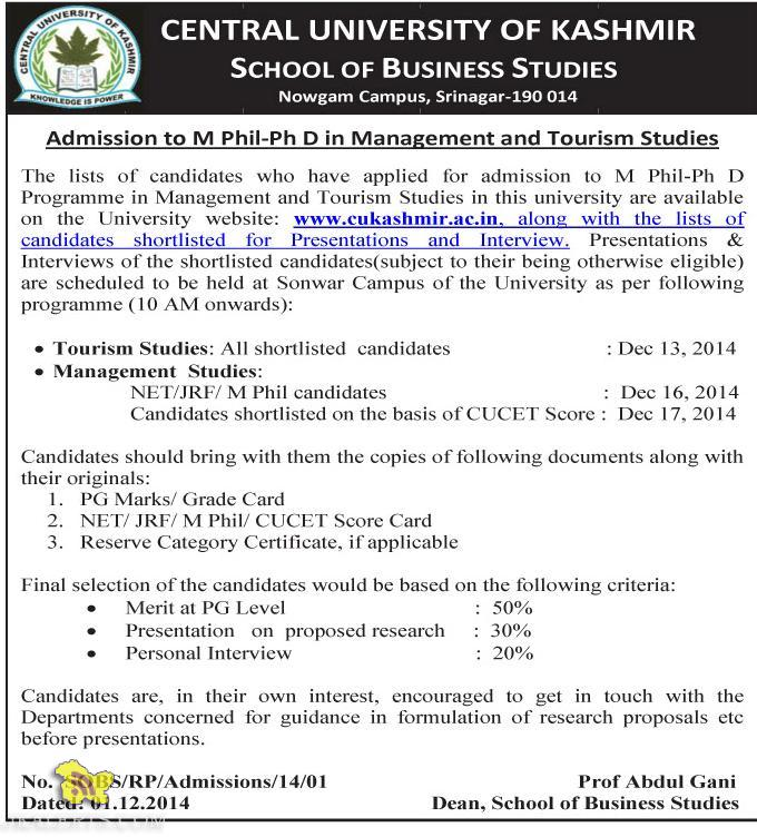 Admission to M Phil-Ph D in Management and Tourism Studies