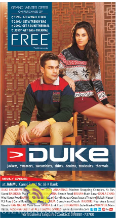Duke Jackets, sweaters, shirts, denims, tracksuits, thermals Grand winter offer