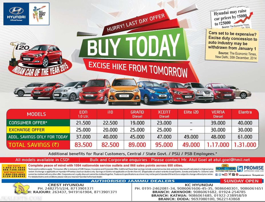 Hyundia last day of offer, Excise hike from tomorrow