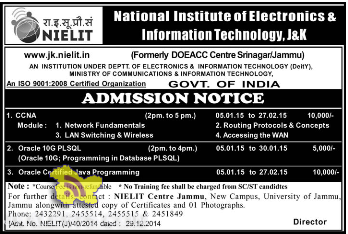 NIELIT Admission notice 2015, Admission notice for CCNA , Oracle 10G PLSQL, Oracle certified JAVA Programming