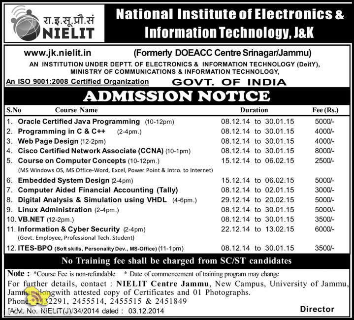 NIELIT Admission Admission Notice