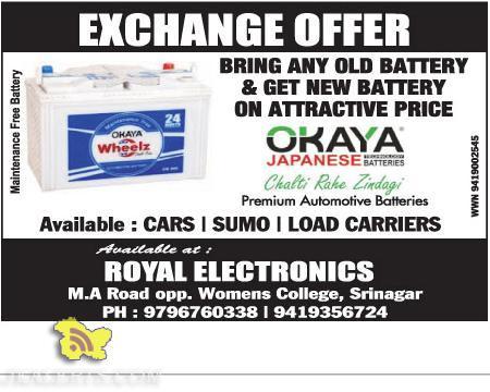 Okaya battery exchange offers, Royal Electronics J&K
