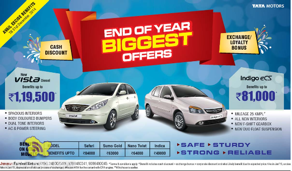 End of year biggest offers Cash Discounts and Exchange loyalty bonus on tata motors