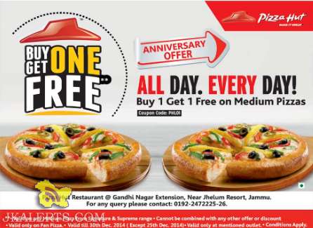 Pizza hut offer in Jammu, Buy one get one free