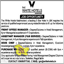 The white hotels Job opportunity in jammu katra