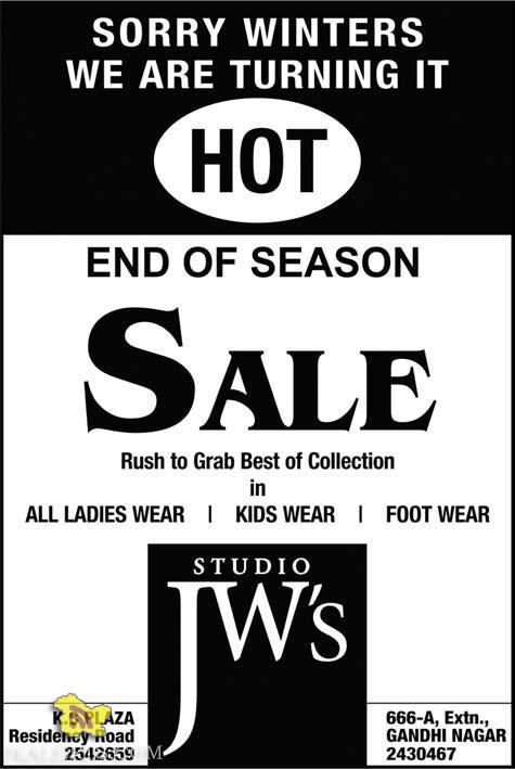 Studio JW's Sale on Ladies wear, kids wear , footwear