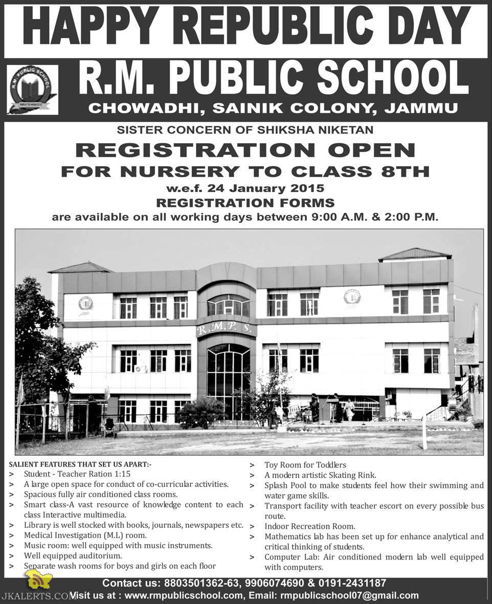 Admission open in R. M. Public school Jammu 2015