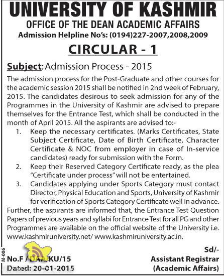 university of kashmir admission open