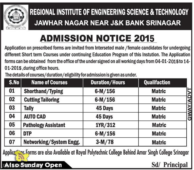 Admission Notice 2015 Regional Institute Of Engineering Science and Technologies
