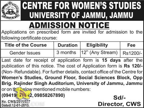 Admission open in centre for women studies university of jammu