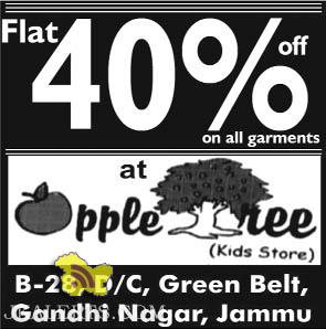 Apple tree kids store, flat 40% on all garments