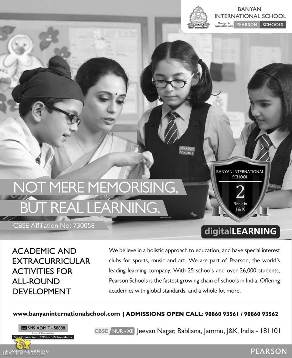Admission open in Banyan International School Jammu