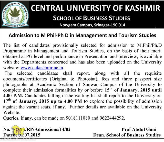 Central University Admission to M Phil-Ph D in Management and Tourism Studies