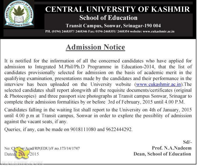 CENTRAL UNIVERSITY OF KASHMIR ADMISSION NOTICE