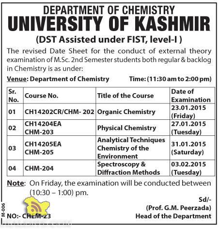 Datesheet for M.sc 2nd Semester, Chemistry examination KU