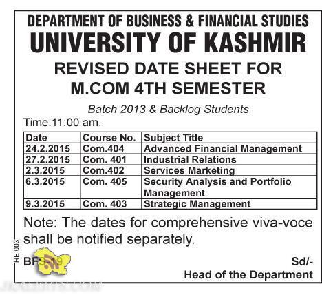 UNIVERSITY OF KASHMIR REVISED DATE SHEET FOR M.COM 4TH SEMESTER