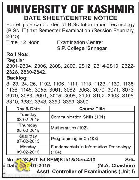 B.Sc Information Technology University of kashmir datesheet and centre notice