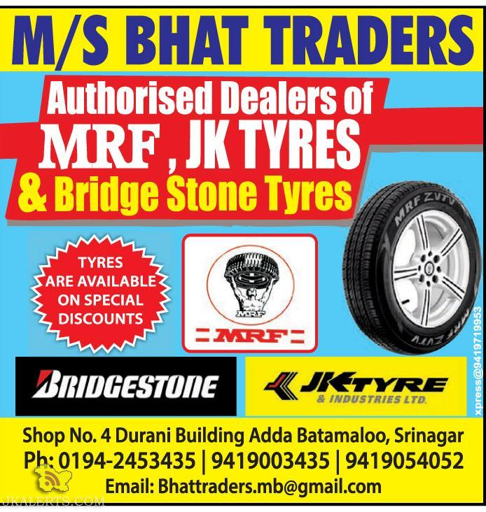 Special discounts on MRF, JKTYRES & BRIDGE STONE TYRES