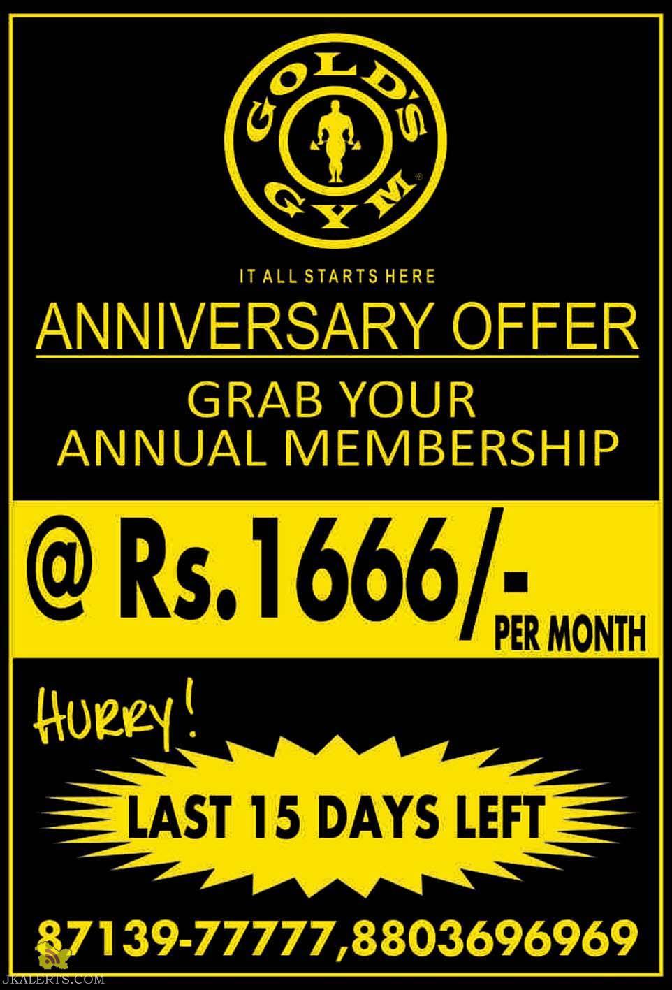 Anniversary Offer Gold's Gym Jammu