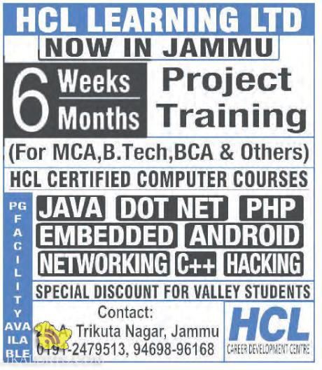 6 Weeks / Months Project Training For MCA B.tech , BCA Students