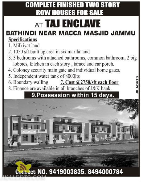 Two story row houses for sale in jammu