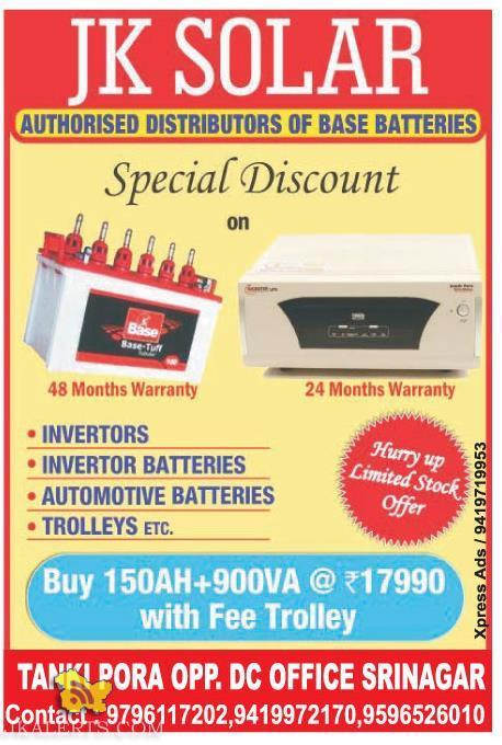 Special Discount on INVERTORS, INVERTOR & AUTOMOTIVE BATTERIES JK SOLAR
