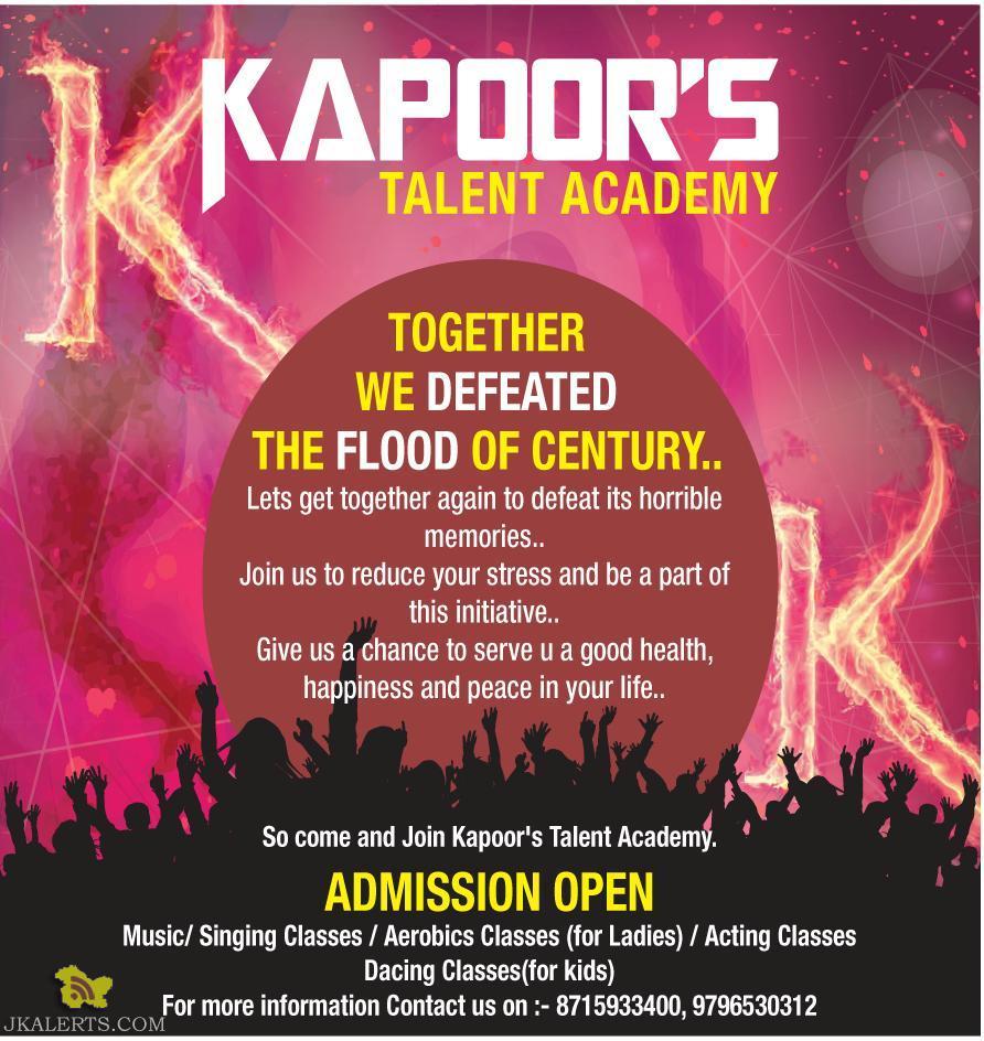 Kapoor Talent Academy ADMISSION OPEN Music/ Singing Classes / Aerobics Classes (for Ladies) / Acting Classes Dancing Classes