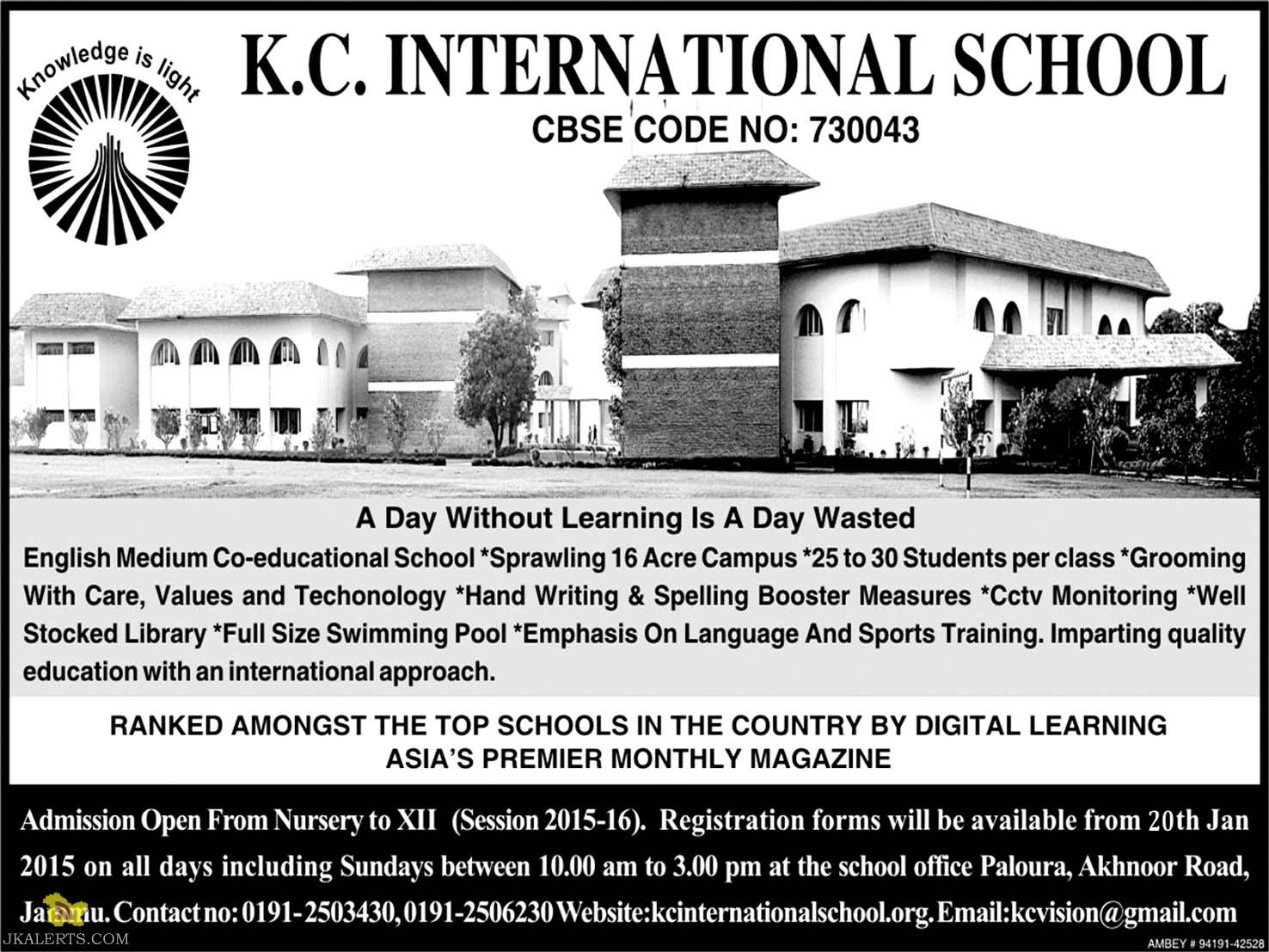 K.C. INTERNATIONAL SCHOOL Admission Open From Nursery to XII (Session 2015-16)