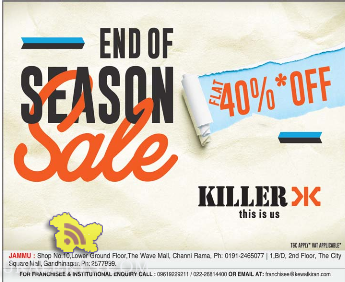 End of Season Sale on killer jeans ,The wave mall, City square, Gandhi nagar Jammu