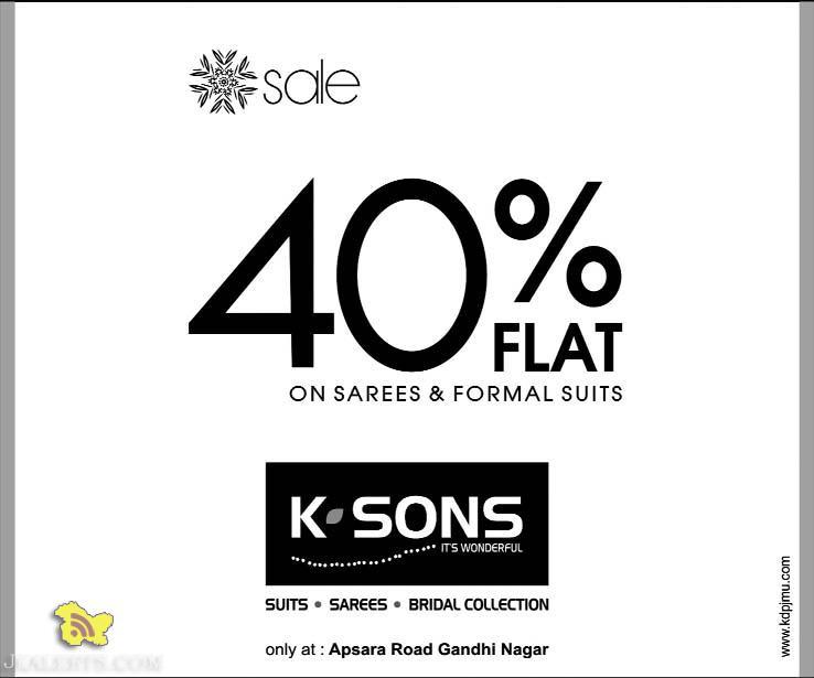 Sale on Sarees and Formal Suits, K Sons Gandhi nagar