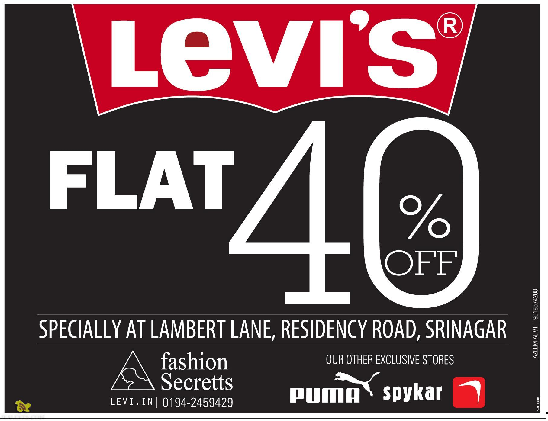 Sale on Levi's, Flat 40% Off