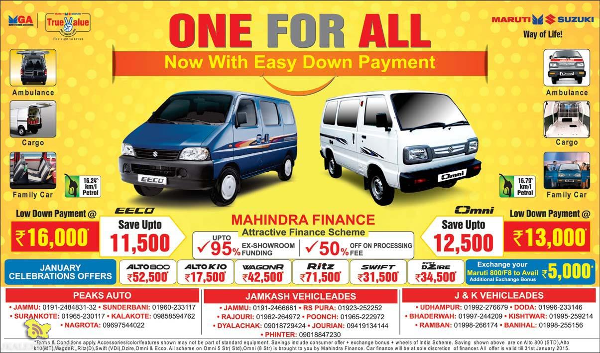 One for all, Easy Down Payment offer on Maruti Suzuki