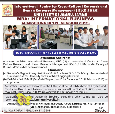 International Business Admission open Session 2015