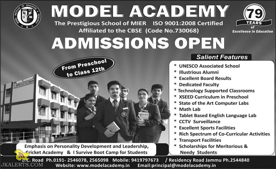 Admission open in Model Academy MIER Jammu