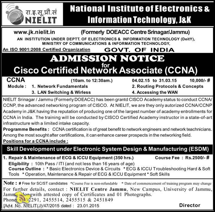 NIELIT Admission open for CCNA / CCNP and Electronic System Design & Manufacturing