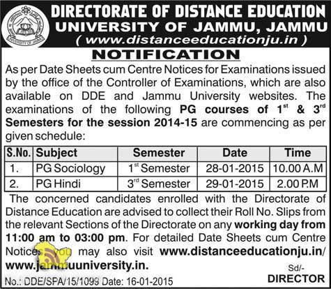 DIRECTORATE OF DISTANCE EDUCATION UNIVERSITY OF JAMMU NOTIFICATION