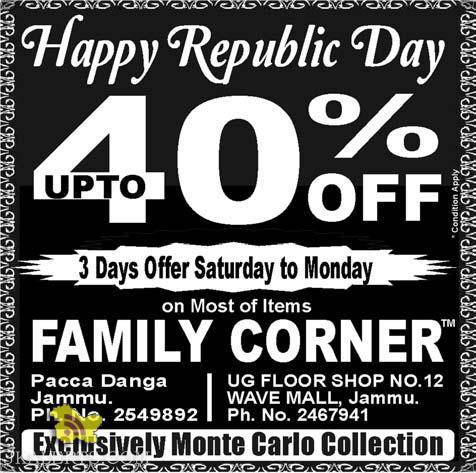 Sale on Family Corner, Happy Republic Day offer