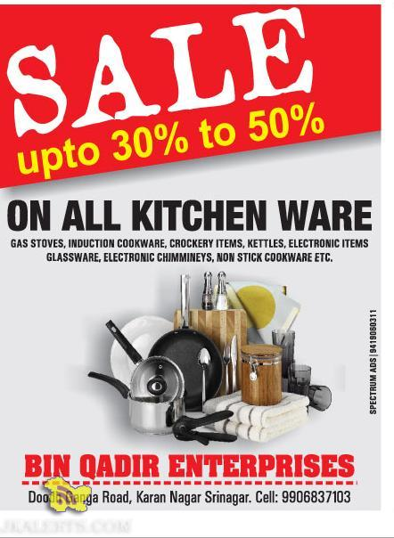 Sale kitchen ware GAS STOVES, INDUCTION COOKWARE, CROCKERY ITEMS, ELECTRONIC ITEMS etc