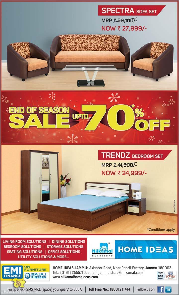 End of Season sale on NIlkamal Furniture upto 70% in Jammu and kashmir