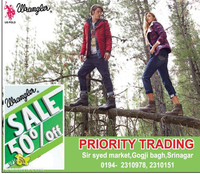 Wrangler sale upto 50%, Priority Trading, Srinagar