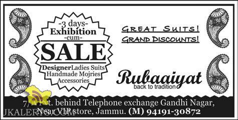 Exhibition Cum Sale,Designer ladies Suits, Handmade Mojries Accessories