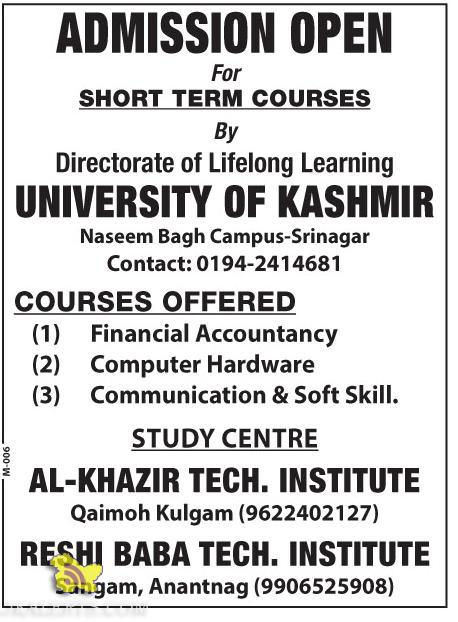 Admission open for Short Term Courses Kashmir university