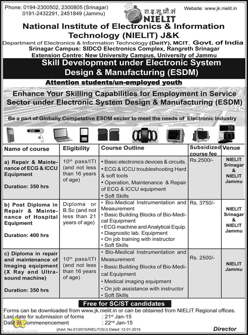 NIELIT Skill Development under Electronic System Design & Manufacturing (ESDM)
