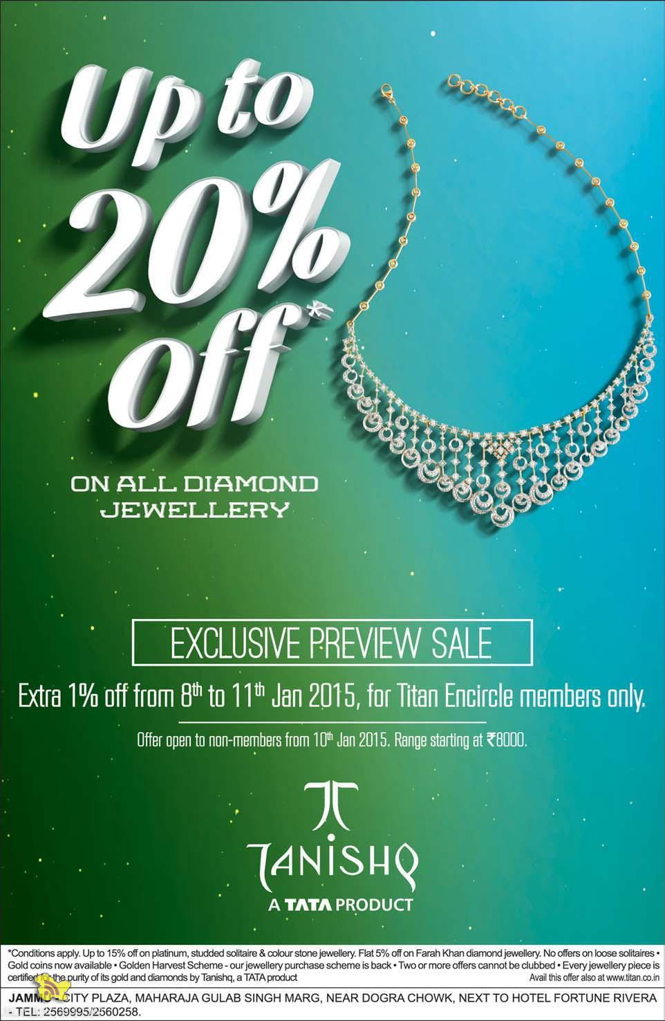 Upto 20% off on Diamond Jewellery, Exculsive preview sale