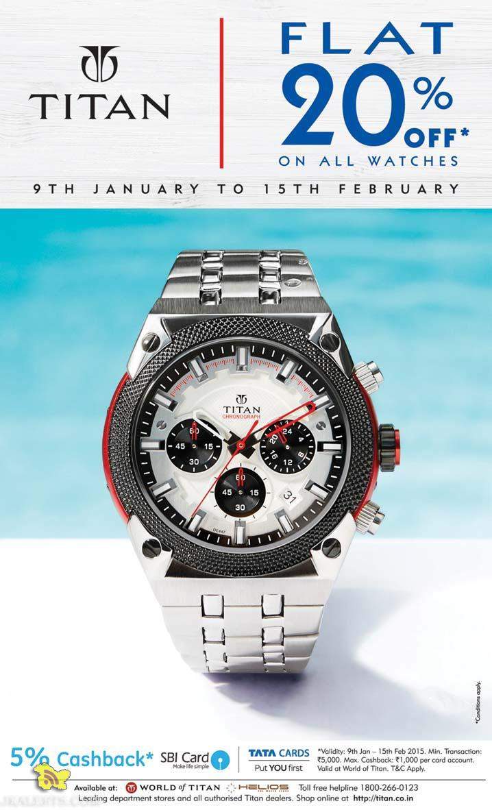 TITAN watches Flat 20% off