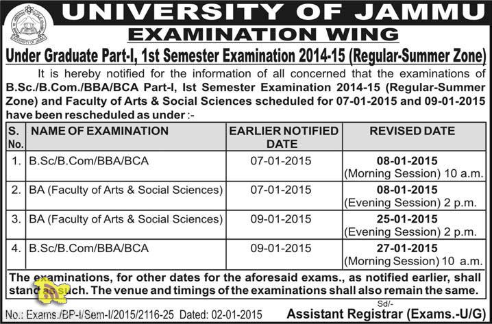 Under Graduate Part-I, 1st Semester Exams 2014-15 Rescheduled