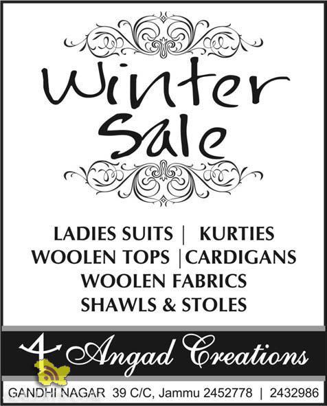 Winter Sale on LADIES SUITS, KURTIES, WOOLEN TOPS , CARDIGANS, WOOLEN FABRICS, SHAWLS & STOLES