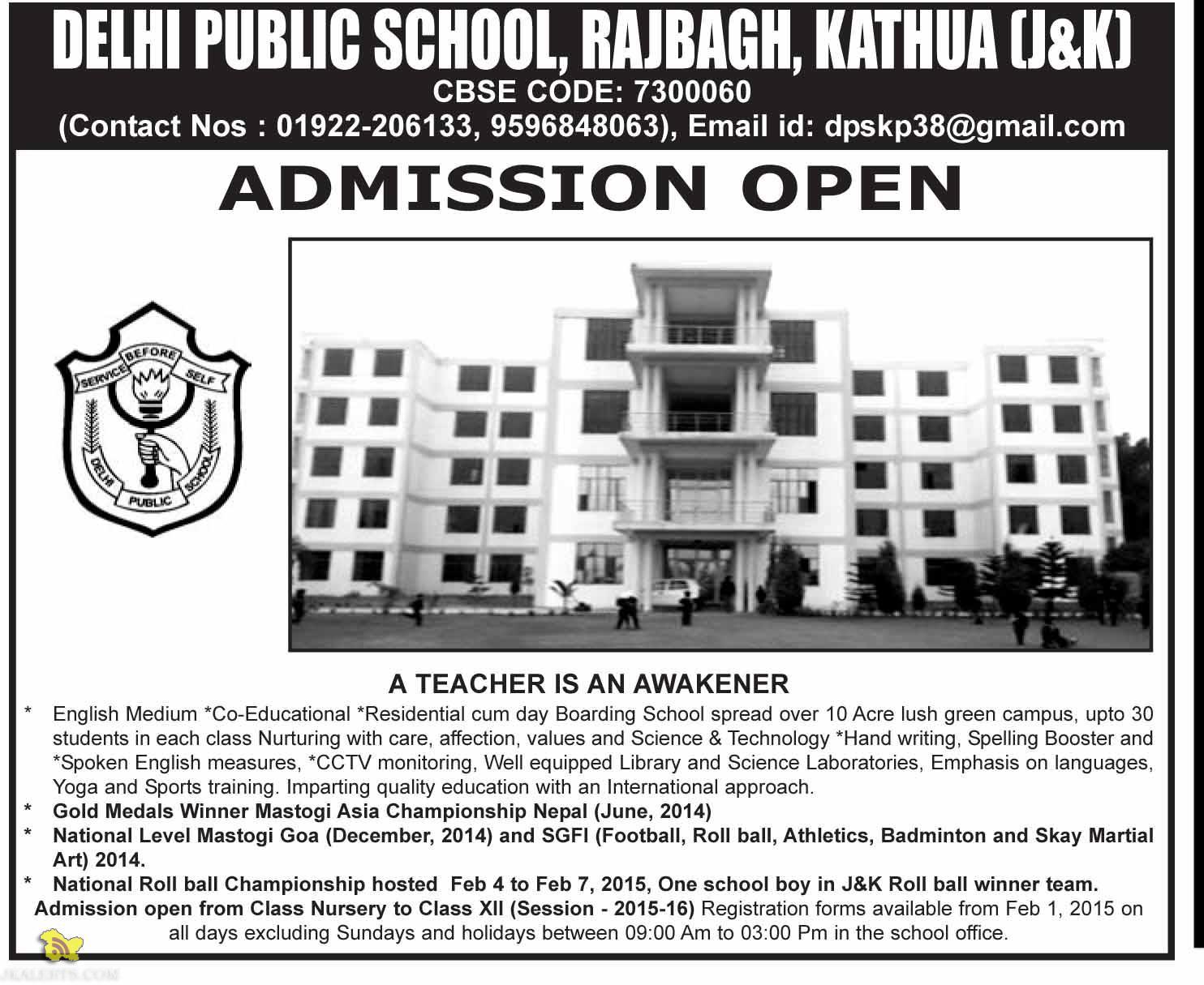 ADMISSION OPEN IN DELHI PUBLIC SCHOOL, RAJBAGH, KATHUA 2015