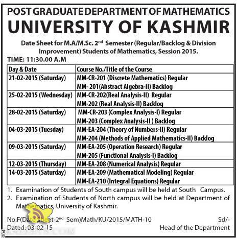 Date Sheet for M.A / M.Sc. 2nd Semester Kashmir university