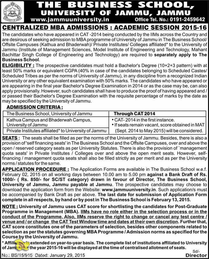 Centralized MBA Admissions University of Jammu